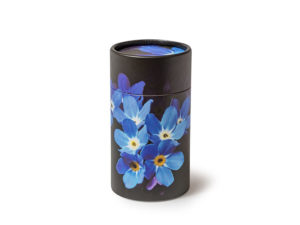 Scatter Tube ashes scattering urn container. Forget-Me-Not design. Petributes are the creators of the original Scattering Tubes in the widest range of sizes and designs available. Bespoke and branded designs by arrangement